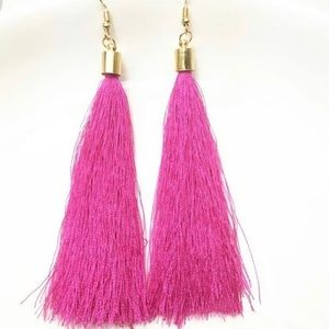 Jewelry - Magenta long Tassel Earrings hot pink